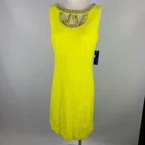 NWT Peter Nygard Sz 8 Dress Yellow Beaded Missy